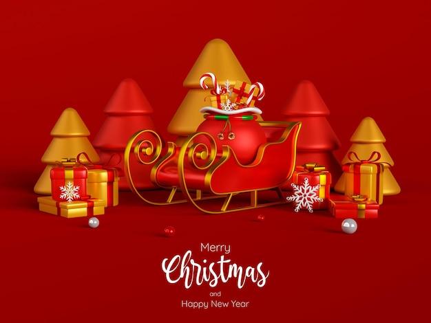 Slitta e regali di natale con albero di natale su sfondo rosso, illustrazione 3d