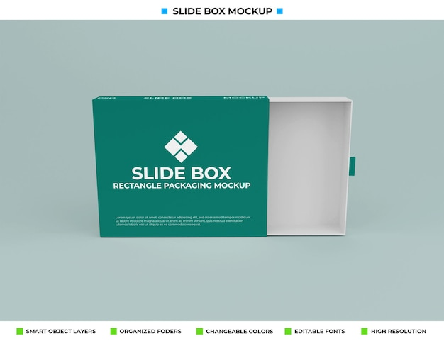 Mockup di scatola diapositiva isolato su sfondo di colore tenue