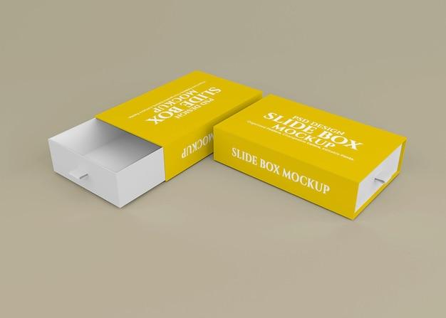Mockup di scatola diapositiva con sfondo modificabile