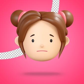 Faccia leggermente accigliata per emoticon triste di rendering 3d personaggio ragazza carina