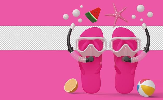 Pantofola che indossa maschera da sub con attrezzatura da spiaggia, stagione estiva, rendering 3d estivo