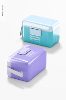 Mockup di contenitore per latte in polvere per bambini piccolo, caduto Psd Premium