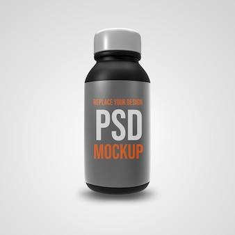 Progettazione di rendering 3d mockup piccola bottiglia