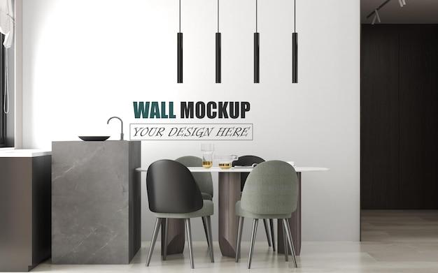 Mockup di parete piccola sala da pranzo moderna