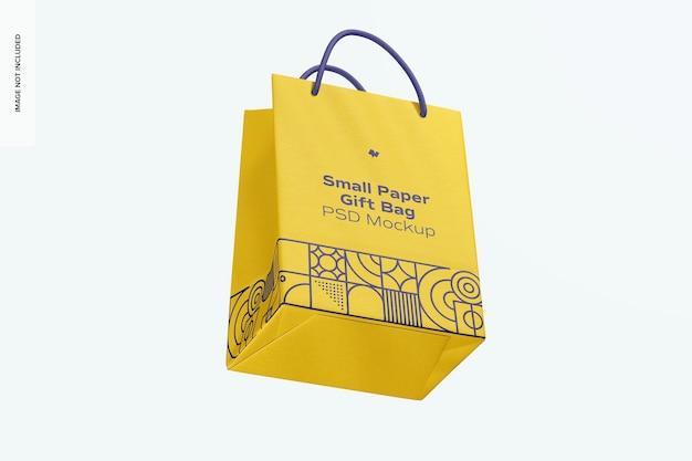 Sacchetto regalo piccolo in carta con manico in corda mockup, galleggiante