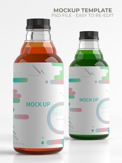 Mockup di piccola bottiglia di plastica