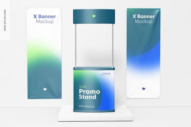 Stand promozionale piccolo con mockup di banner a x