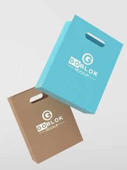 Mockup di sacchetti di carta per la spesa piccoli