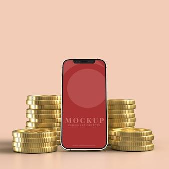 Smart phone e moneta d'oro