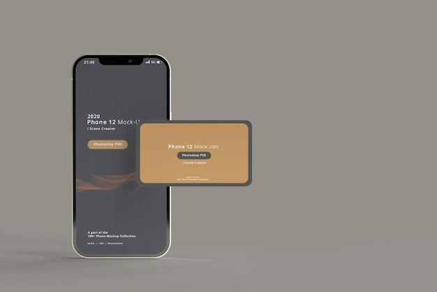 Smart phone mockup con biglietti da visita