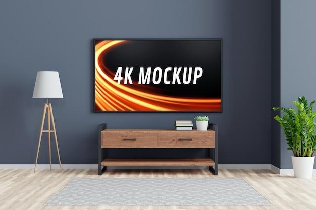 Mockup di smart tv sull'armadio nel soggiorno moderno nel rendering 3d