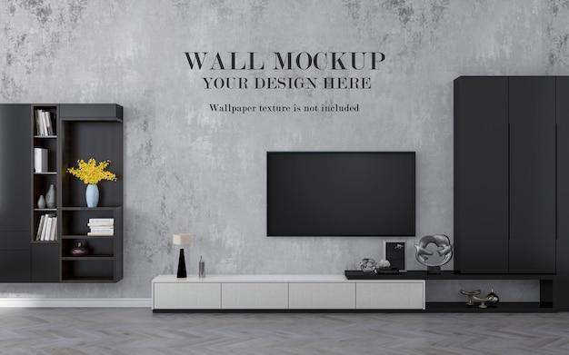 Mockup di smart tv a parete con armadi
