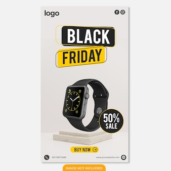 Modello di storia di design instagram black friday orologio intelligente