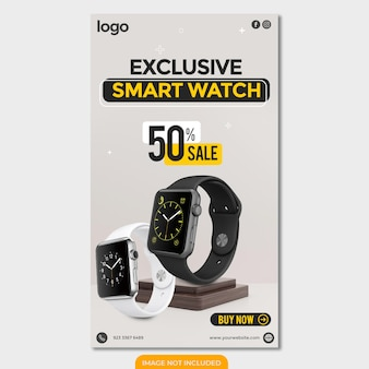 Smart watch black friday instagram con modello di storia di design di sfondo bianco
