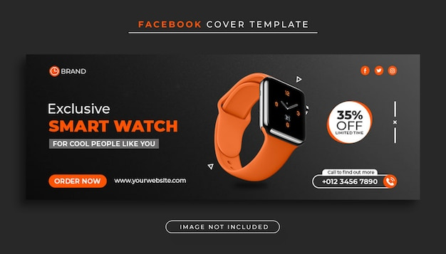 Modello di banner di copertina di facebook di vendita di prodotti smart watch