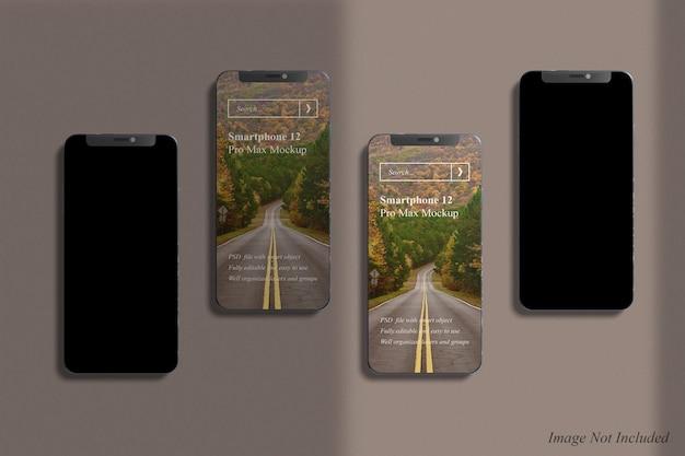 Smartphone 12 pro max mockup con sovrapposizione di ombre