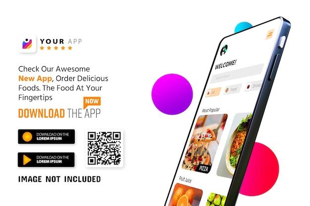 Logo mockup di promozione app per smartphone e pulsanti di download con codice qr di scansione