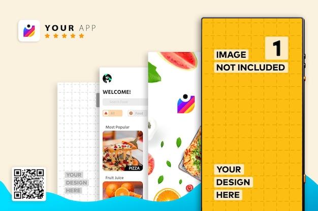 Mockup di promozione di app per smartphone, mockup di logo con codice qr di scansione