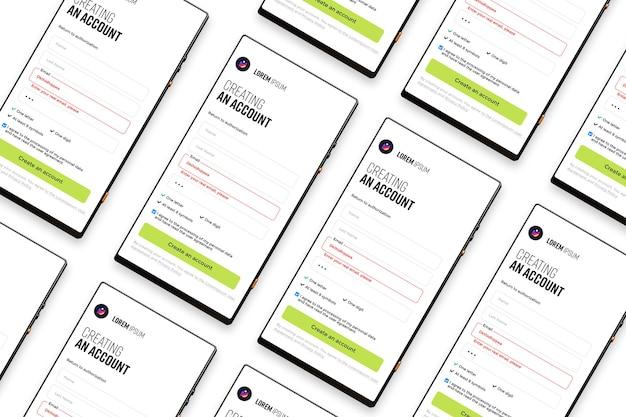 Mockup di promozione dello schermo dell'app per smartphone
