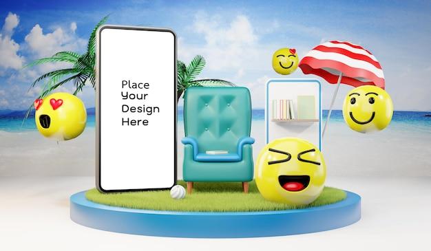 Smartphone sulla spiaggia concetto di pubbliche relazioni nel turismo