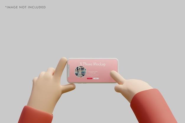 Modello di argilla per smartphone con mano 3d che lo tiene