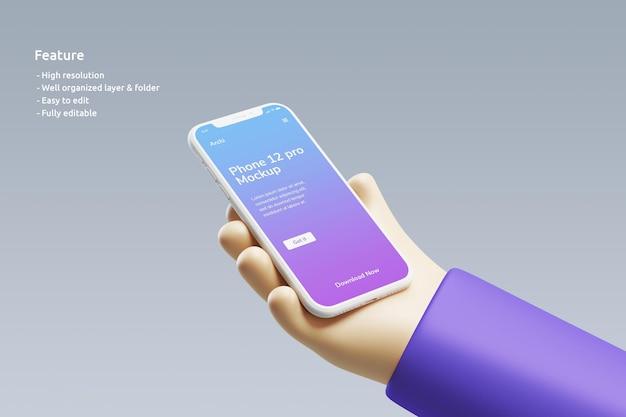 Modello di argilla per smartphone con una simpatica mano 3d che lo tiene