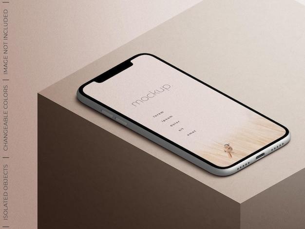 Vista isometrica del mockup di presentazione dello schermo dell'app del dispositivo smartphone