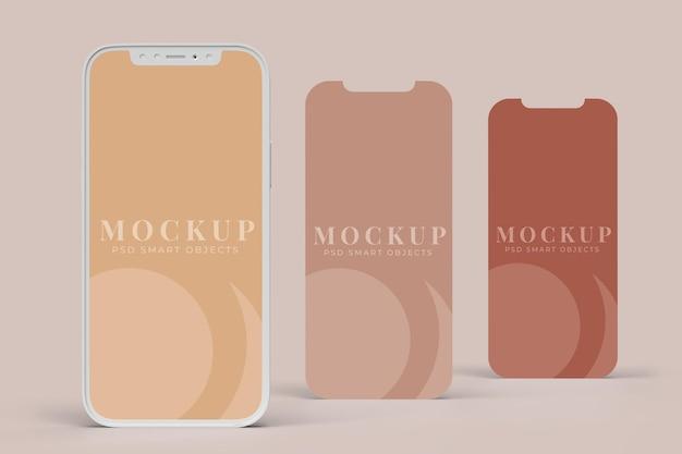 Smartphone digital device and app interface modello di mockup dello schermo per concetti aziendali di branding di presentazione