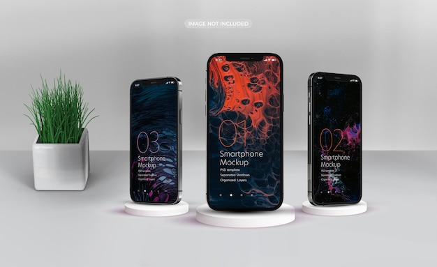 Progettazione di mockup di smartphone in rendering 3d