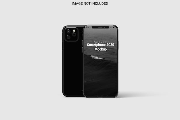 Vista frontale di mockup di smartphone isolata