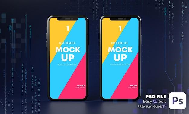 Smartphone mockup ologramma con il concetto di tecnologia nel rendering 3d