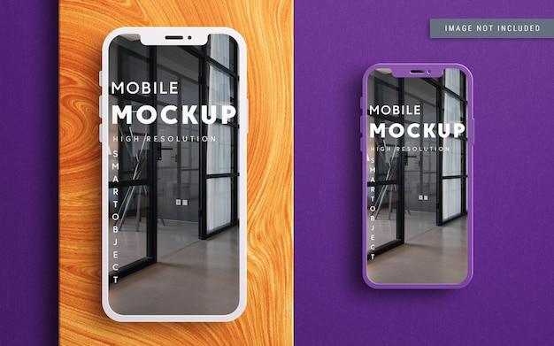 Smartphone mockup vista dall'alto design