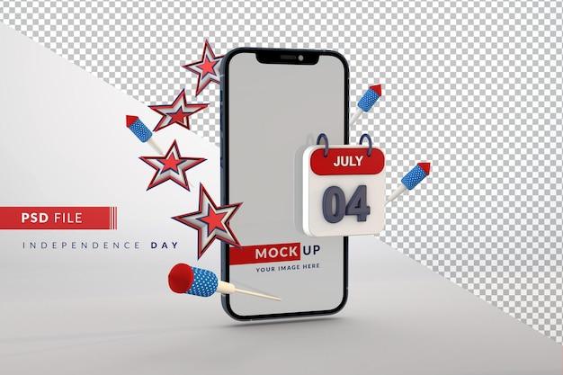 Mockup di smartphone per il giorno dell'indipendenza degli stati uniti il 4 luglio