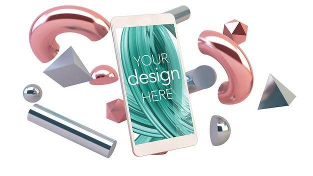 Mockup di smartphone con forme 3d astratte