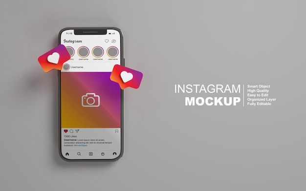 Mockup di smartphone con post di instagram sui social media modificabili