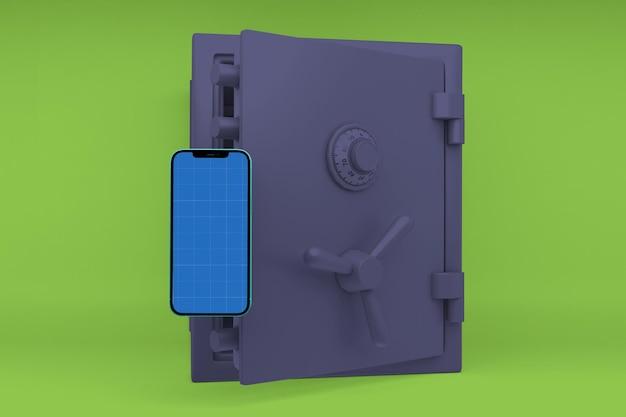 Mockup di smartphone con cassetta di sicurezza