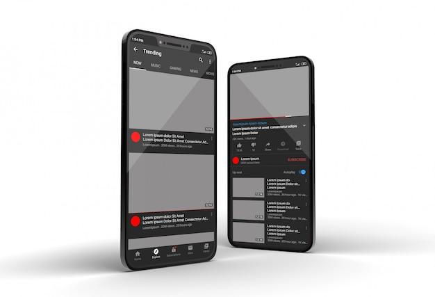 Mockup di smartphone con display dello schermo di youtube