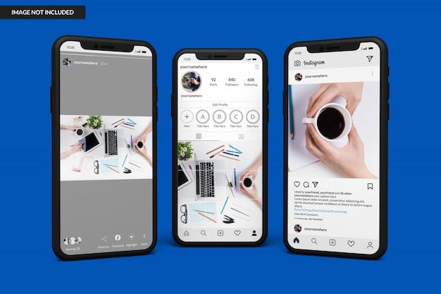 Mockup di smartphone per visualizzare il modello di post di instagram