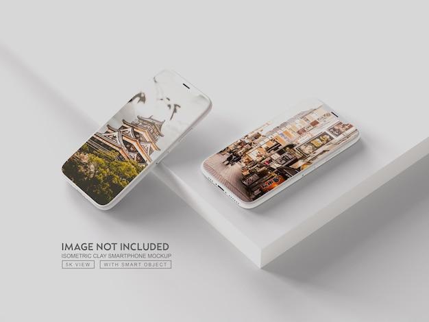 Smartphone o dispositivo multimediale clay mockup
