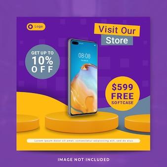 Modello di post o banner sui social media per la promozione di smartphone Psd Premium