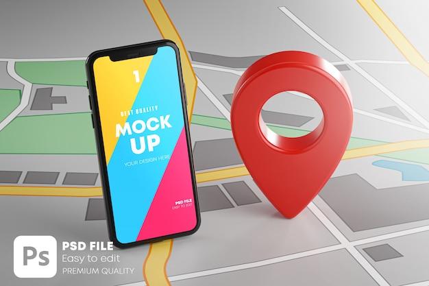 Smartphone e pin gps rosso sul mockup della mappa