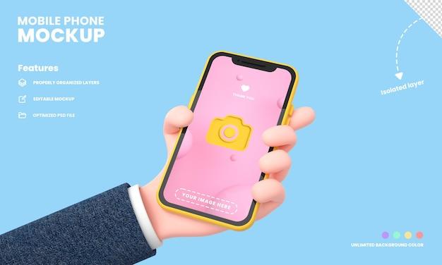 Schermo per smartphone o telefono cellulare pro mockup isolato con rendering 3d della posizione del telefono della tenuta della mano