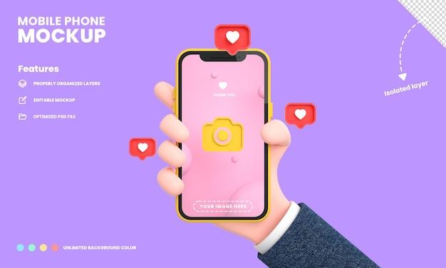 Schermo per smartphone o telefono cellulare pro mockup isolato con la posizione del telefono che tiene la mano e mi piace