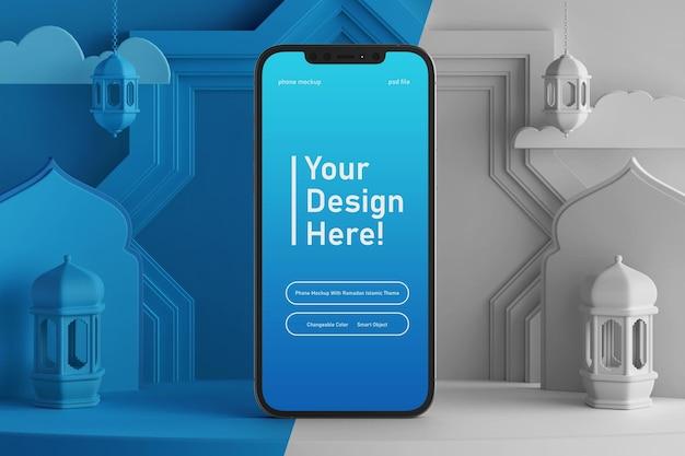 Mockup dello schermo dello smartphone su colore mutevole creativo rendering 3d tema islamico ramadan eid mubarak