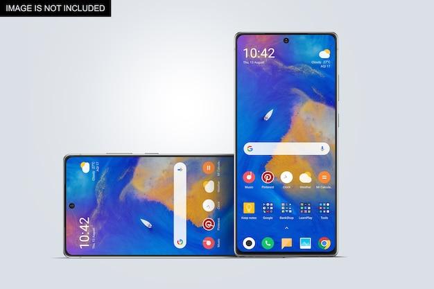 Vista frontale del mockup dello schermo dello smartphone