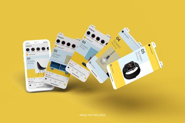 Mockup dello schermo dello smartphone con strato