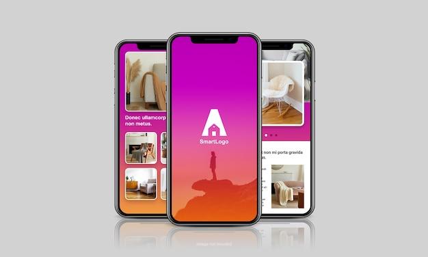 Mockup dello schermo dello smartphone con la riflessione