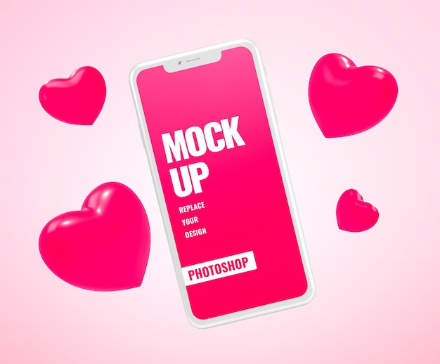 Mockup di cuore regalo di san valentino per smartphone