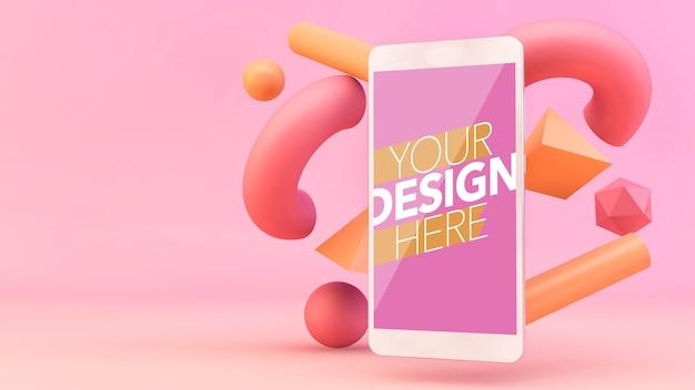 Smartphone con mockup di forme 3d
