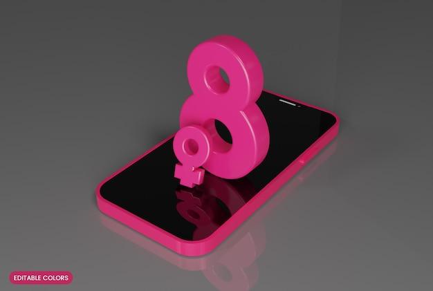 Smartphone con 8 marzo felice festa della donna